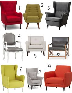 1. Polo Wingback Armchair, Structube; 2. Claire Armchair, Structube; 3. Strandmon Wingback Armchair, IKEA; 4. Stick Around White/Grey Armchair, CB2; 5. Elise Chair, EQ3; 6. Kanji Armchair, Structub...