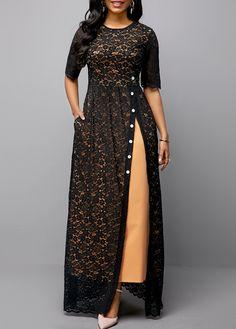 Half Sleeve Split Side Button Detail Lace Maxi Dress Buy it Now :D Women's Fashion Dresses, Sexy Dresses, Trendy Dresses, Cheap Dresses, Fashion Clothes, Summer Dresses, Black Dresses Online, Dress Online, Cheap Black Dress