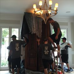 It only took six men, but the beautiful antique piece is safe, the walls and the ceiling are not damaged, and the Chandelier was untouched. Supply Room, Organizing, Organization, Mudroom, Declutter, Storage Spaces, Design Projects, Laundry Room, Organisation