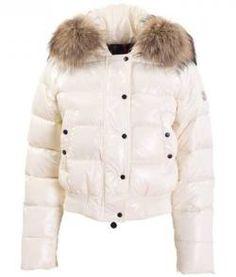 Moncler Alpes trapuntato pelliccia-Hood giacche bianche Neck