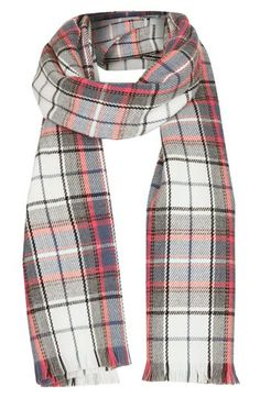 Topshop Fringe Plaid Scarf available at #Nordstrom $32 w/ free shipping