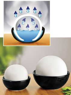 Decora Room Humidifier (set of 2) - Decora Room Humidifiers release moisture into the air naturally. Humidify without electricity or batteries. Simple water evaporation is how these stone humidifiers put moisture into the dry air of your room.