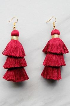 Crimson and Gold Fringe Earrings – The Impeccable Pig
