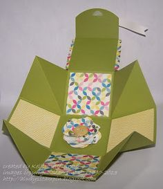 """Always Stampin' with Kelly Gettelfinger: EXTENDED EXPLOSION BOX... lid is attached to the box... all of it comes from just ONE 8-1/2"""" X 11"""" SHEET OF CARD STOCK!"""