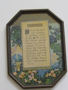 SOLD Maurine Hathaway Mother Poem c1925 framed by Smallthingsforyou