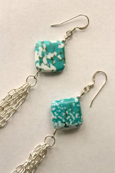 $18 Turquoise Dyed Magnesite and Long Silver Chain Tassel Earrings by KTSues on Etsy
