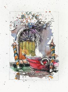 Colors of Venice original small watercolor painting2019 ink | Etsy Beautiful Artwork, Cool Artwork, Ink Painting, Watercolor Paintings, Small Paintings, Paper Dimensions, Urban Sketching, Watercolor And Ink, My Works