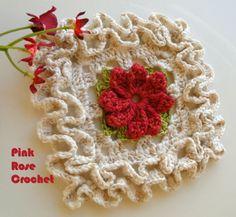 PINK ROSE CROCHET /: Quadradinho com Flor e Ponto Ondulado Wiggly