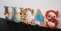 Hand painted wooded letters for a jungle themed nursery