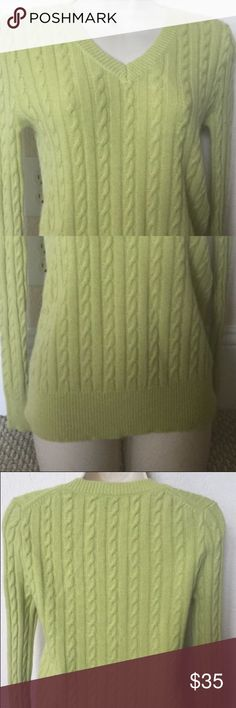 """Neiman Marcus cashmere collection sweater Neiman Marcus the cashmere collection 100% cashmere V neck long sleeve cable knit sweater pullover, light green Sz XS, made in China Measurements taken flat Bust; 16.5"""" Shoulders:14"""" Sleeve :24"""" Length:22""""(back) Good pre- owned condition Neiman Marcus Sweaters V-Necks"""