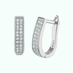Micro Pave Oval Shape Double Line Hoop Sterling Silver Huggie Earrings #MicroPaveCZHoopEarrings