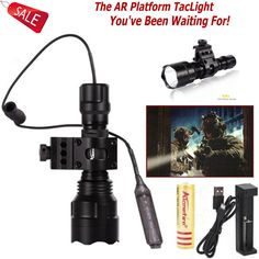 C8 5-Mode Tactical Torch 850LM CREE XM-L2 LED Flashlight with Picatinny Mount and Remote Pressure Switch