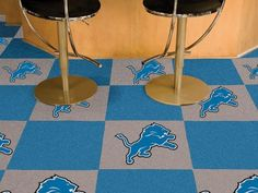 Detroit Lions 20 Pack Of 18in Area/Sports/Game Room Carpet/Rug Tiles