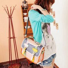 $20.51 Causal Vintage Color Block Buckle and Rivets Design Women's Shoulder Bag