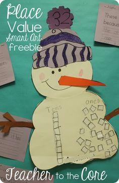 Place Value Snowman Art {Freebie}