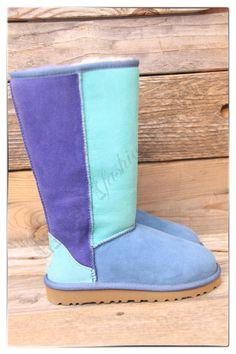 http://fancy.to/rm/460328721996322595   UGG Australia Kids Classic Patchwork Aqua Navy Blue Tall Boots