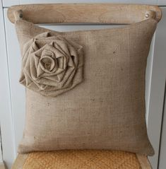 Burlap flower pillow cover