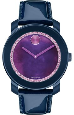 Movado Bold - Large Movado BOLD watch, 42 mm navy TR90 composite material and stainless steel case, multi-tonal purple and blue watercolor dial with purple crystal-set ring, purple sunray dot and hands, pearlized navy patent leather strap with purple lining and stainless steel classic tongue buckle, K1 crystal, Swiss quartz movement, water resistant to 30 meters, MADE WITH SWAROVSKI ELEMENTS.