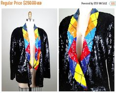 2-DAY FINAL SALE Retro Argyle Sequin Jacket // Geometric by braxae