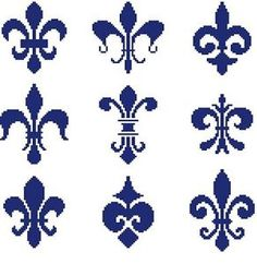 Cross Stitch Knit Crochet Plastic Canvas Waste Canvas Rug Hooking  Perler Bead Work Pattern  Fluer de lis from the French Quarters in New Orleans Louisiana.  Each Flower is approximately 50 x 40 Stiches (squares).  Over all, this pattern is 150 X 154 Stitches (Squares) This pattern uses only 1 color. https://www.pinterest.com/resparkled/