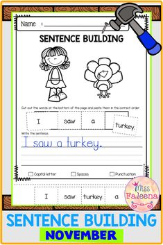 November Sentence Building has 30 pages of sentence building worksheets. This product will teach children to read, write and build sentences. Preschool | Preschool Worksheets | Kindergarten | Kindergarten Worksheets | First Grade | First Grade Worksheets | Sentence Building | Sentence Building Worksheets | Sentence Building Literacy Centers | Sentence Building Printables First Grade Worksheets, Kindergarten Worksheets, Sentence Building, Thinking Skills, English Vocabulary, Writing Skills, Word Work, Literacy Centers, Comprehension