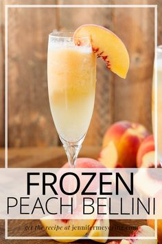 Frozen Peach Bellini - Frozen twist on the classic Bellini made with sparkling prosecco, frozen peaches, and peach nectar for a sweet summertime cocktail. Easy Drink Recipes, Best Cocktail Recipes, Light Recipes, Top Recipes, Cooking Recipes, Peach Bellini Recipe, Frozen Peach Bellini, Peach Drinks, Fun Cocktails