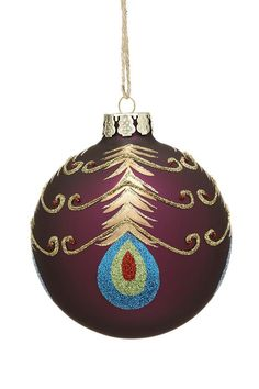 Painted Peacock Ball Ornaments - Set of 4