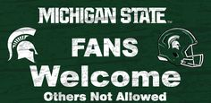 Michigan State Spartans Wood Sign - Fans Welcome 12x6 (backorder)