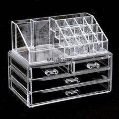 Acrylic Makeup Cosmetic Jewelry Organizer Case Holder with Clear