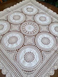Vintage Lace Crocheted and Hand Embroidered Square Tablecloth White and Ecru Coloured Cotton Lace Tablecloth.RBT0132