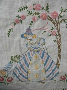 Vintage Embroidered Southern Belle Table Runner w~Flowers ~ Pastels