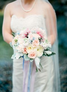 Shabby chic and romantic wedding bouquet.
