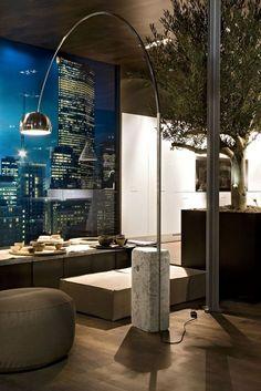 24 Interior Designs with Arco floor lamp Interiorforlife.com Arco floor lamp by Flos. Design by Achille Castiglioni