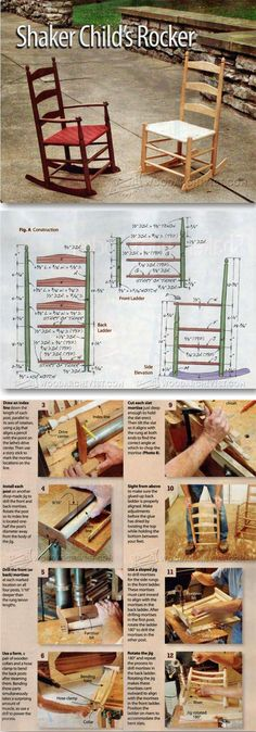 Childs Shaker Rocking Chair Plans - Children's Furniture Plans and Projects   WoodArchivist.com