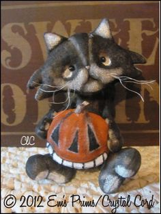 Primitive Halloween Cat Doll Country Decor Pumpkin