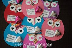 Owl Valentine's could also put pencil through bottom like it is sitting on a branch.
