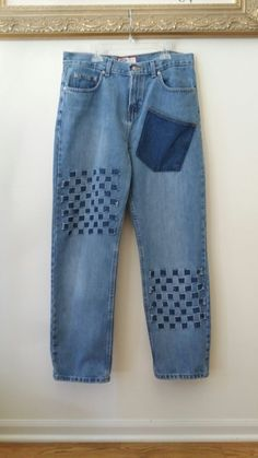 Reclaimed JEANS with Woven DENIM Design, size 12 by SundayDoveDesigns on Etsy