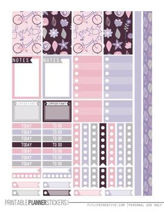 Love Purple Planner Stickers bicycles, notes, checklists, highlight bars to print for your planner