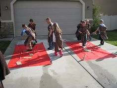 Star Wars Party Games. Also tunics $4 flat sheet from Walmart folded lengthwise cut into 5 sections triangle for neck hole