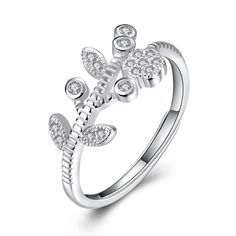 Flowers Tree Branch 925 Sterling Silver Adjustable Ring