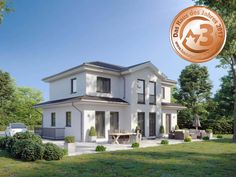 Moderne Stadtvilla mit zwei Erkern SOLERA | DIALUXE Massivhaus Bungalows, Plans, House Styles, Home Decor, Houses, Homes, Tuscany, Home Plans, Decoration Home
