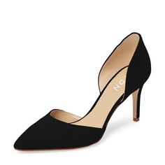 Women's Shoes, Sandals, Heeled Sandals, Women Classic Low Heels D'Orsay Pumps Suede Pointed Toe Slip on Dressy Stilettos Shoes - Black - fashion style womenshoes Sandals fashionwomen shopping Heeled Sandals 798755683887634030 Cute Heels, Lace Up Heels, Low Heels, Pumps Heels, Black Heels Low, Low Heel Shoes, Suede Pumps, Black Pumps, Women's Shoes Sandals