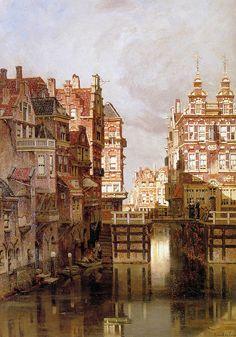 The Oudezijds Kolk in Amsterdam Sun - Johannes Christiaan Karel Klinkenberg  (1852-1924)