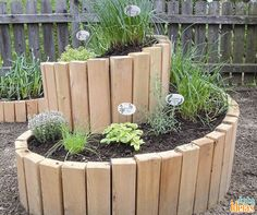 DIY Raised Garden Bed Projects A collection of unique ideas for a raised bed garden: Building materials, cold-frame ideas, mini-greenhouses and accessories for your beds. {Arcadia Farms} - Another! Herb Spiral, Spiral Garden, Herb Garden, Vegetable Garden, Easy Garden, Wood Planter Box, Wood Planters, Raised Planter, Planter Garden