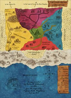"Map of the Land of Oz, which was posted as an ""Extra"" to celebrate the end of Part One. The map was created by the talented Robert Altbauer of fantasy-map.net."