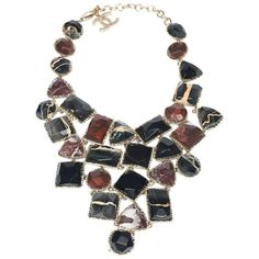 1990's Chanel Stunning Marble Bib  Necklace  | From a unique collection of vintage more necklaces at https://www.1stdibs.com/jewelry/necklaces/more-necklaces/