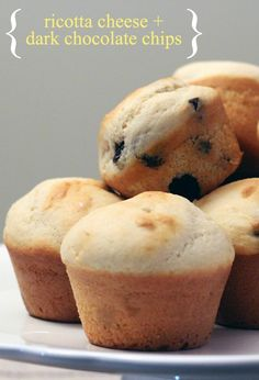 Looking for a sweet but better-for-you afternoon snack? This recipe for Ricotta Cheese and Dark Chocolate Chip Muffins is better for you and incredibly delicious.
