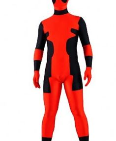 deadpool costume lycra spandex back zipper full body zentaisuit halloween costume