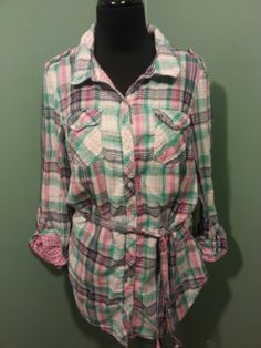 H & M Divided Pink Teal Navy White Plaid Long/Short Sleeve Cotton Blouse 8 $15 Free Shipping!