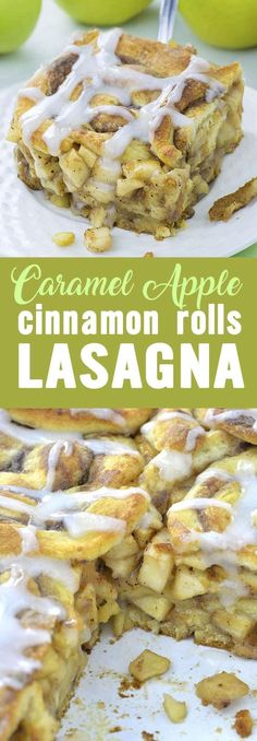 Caramel Apple Cinnamon Roll Lasagna is awesome fall treat and delicious dessert, but it is great idea for easy breakfast casserole, too.